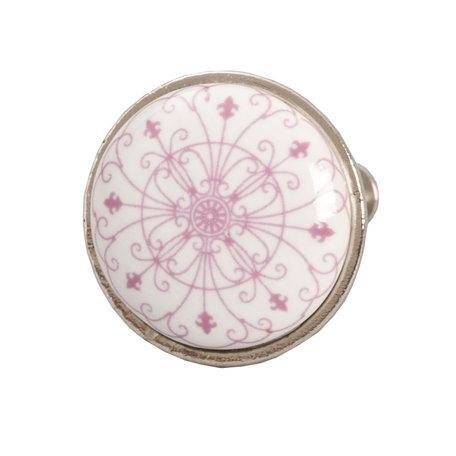 2 STUKS Deurknop ø 3 cm Pink   61879   Clayre & Eef