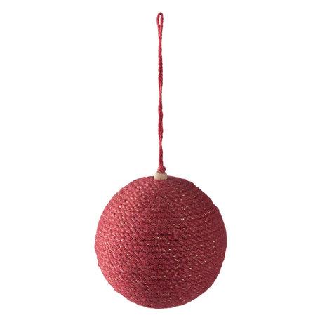 Kerstbal ø 9*10 cm Rood | 64002 | Clayre & Eef