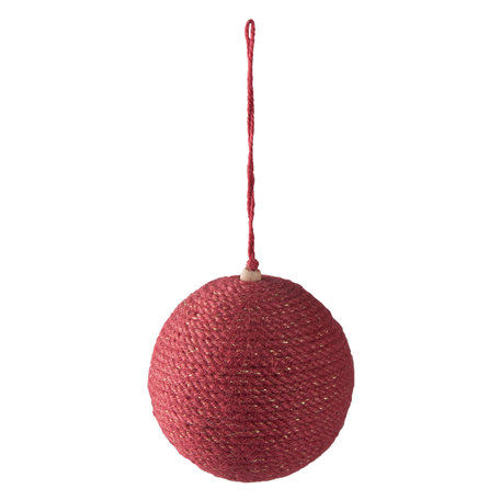2 STUKS Kerstbal ø 9*10 cm Rood | 64002 | Clayre & Eef