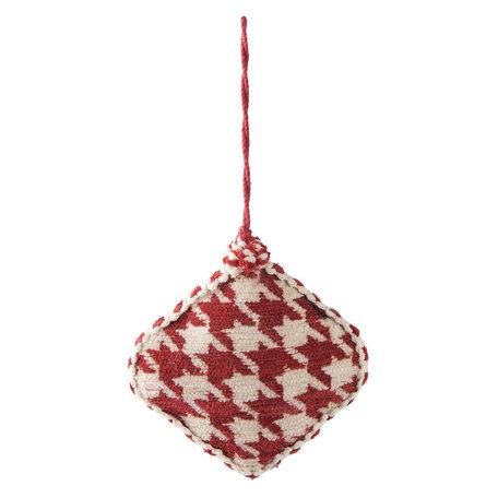 2 STUKS Hanger ruit 11*3*11 cm Rood | 64008 | Clayre & Eef