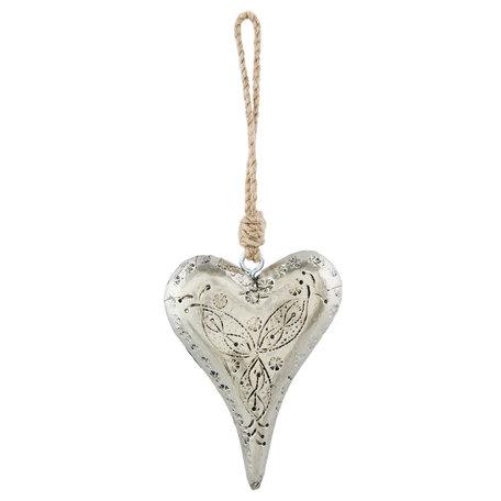 Decoratie hanger hart 10*3*14 cm Zilverkleurig | 64012 | Clayre & Eef