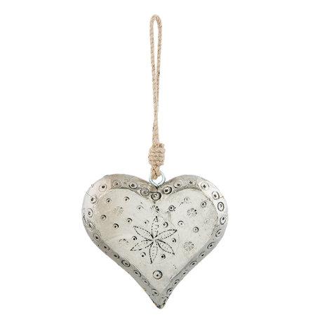 Decoratie hanger hart 12*3*12 cm Zilverkleurig | 64013 | Clayre & Eef