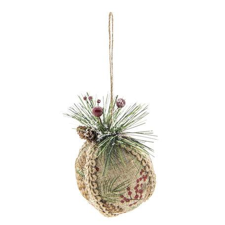 2 STUKS Kerstbal 10*8*11 cm Meerkleurig | 64033 | Clayre & Eef