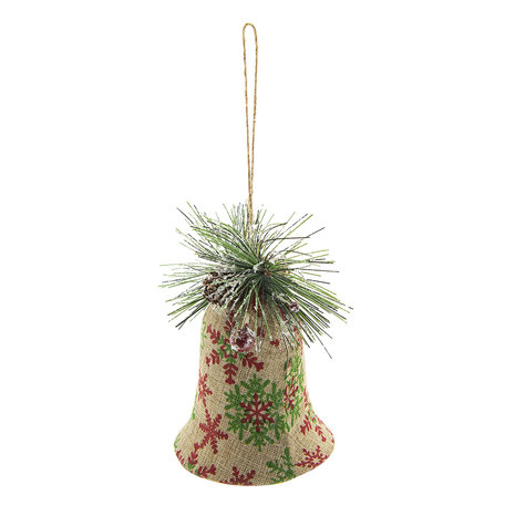 2 STUKS Kerstbal bel 10*8*11 cm Meerkleurig | 64036 | Clayre & Eef
