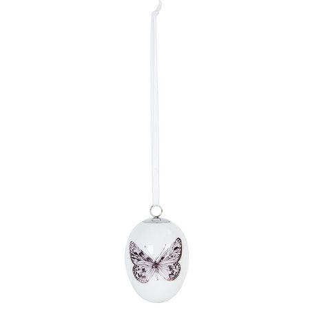 2 STUKS Decoratie hanger ei ø 5*7 cm Wit | 6CE0637 | Clayre & Eef