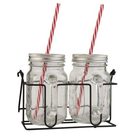 Drinkbeker met rietje 20*11*15 cm (2) Transparant | 6GL1223 | Clayre & Eef