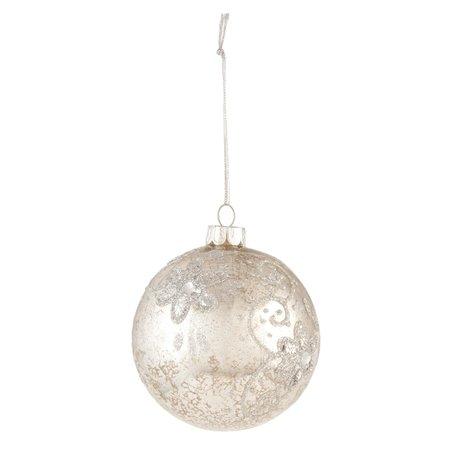 2 STUKS Kerstbal ø 8 cm Zilverkleurig | 6GL1398 | Clayre & Eef