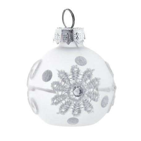 2 STUKS Kerstbal ( set 6) ø 4 cm Wit | 6GL2015 | Clayre & Eef