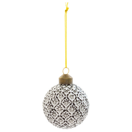 Kerstbal ( set van 4) ø 6*6 cm ( set 4 ) Zwart | 6GL2055 | Clayre & Eef