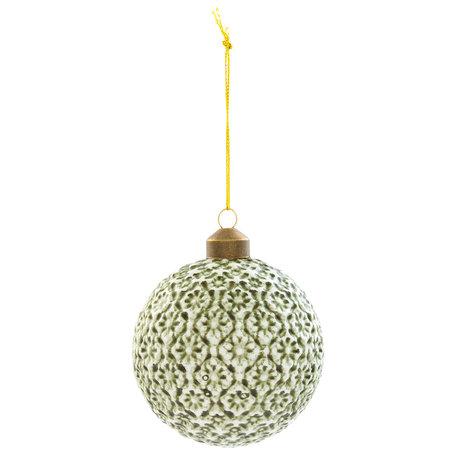 Kerstbal ( set 4) ø 8*8 cm ( set 4 ) Groen | 6GL2056 | Clayre & Eef