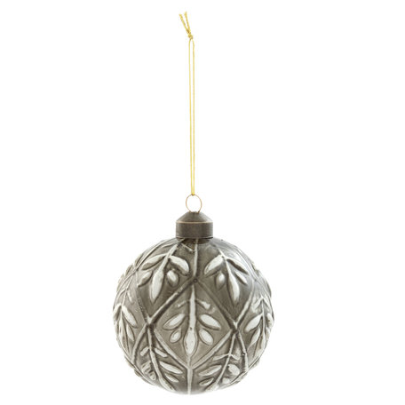Kerstbal ( set 4) ø 8*8 cm ( set 4 ) Grijs | 6GL2060 | Clayre & Eef