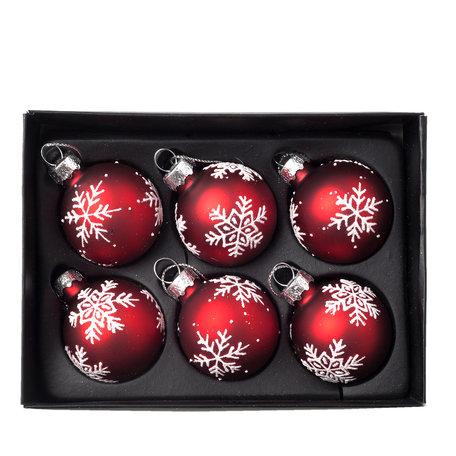 Kerstbal ø 4 cm (6) Rood | 6GL2095 | Clayre & Eef