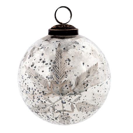 Kerstbal ø 10 cm Zilverkleurig | 6GL2108 | Clayre & Eef