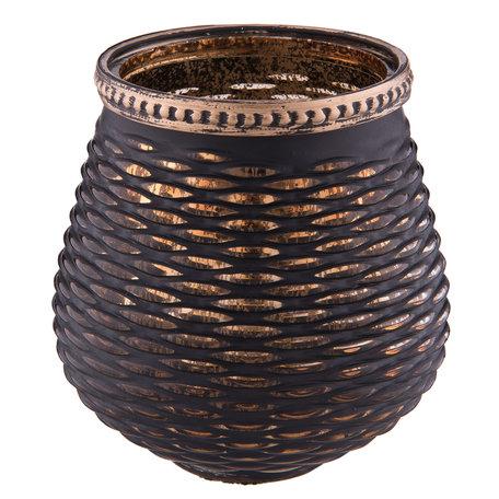 Waxinelichthouder ø 9*10 cm Zwart/Goud | 6GL2214 | Clayre & Eef