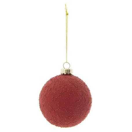 Kerstbal (set 4) ø 8 cm Rood | 6GL2268R | Clayre & Eef