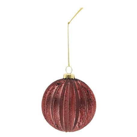 Kerstbal (set 4) ø 8 cm Rood | 6GL2269R | Clayre & Eef