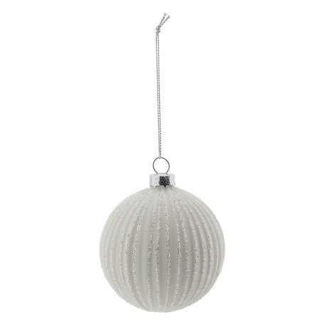 Kerstbal (set 4) ø 8 cm Wit | 6GL2272W | Clayre & Eef
