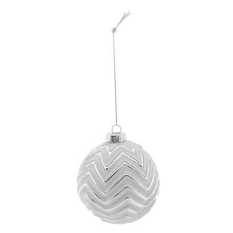 Kerstbal (set 4) ø 8 cm Zilverkleurig | 6GL2273ZI | Clayre & Eef