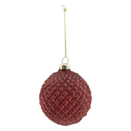 Kerstbal (set 4) ø 8 cm Rood | 6GL2276R | Clayre & Eef