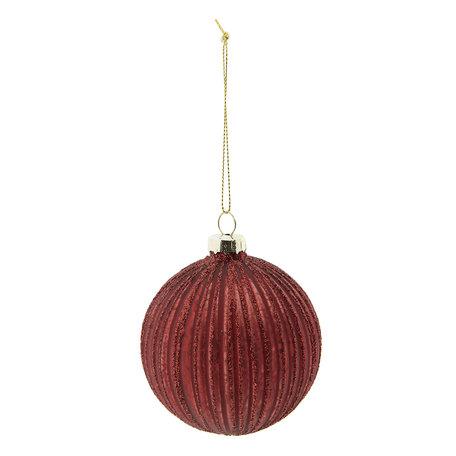 Kerstbal (set 4) ø 8 cm Rood | 6GL2277R | Clayre & Eef
