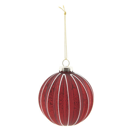 Kerstbal (set 4) ø 8 cm Rood | 6GL2278R | Clayre & Eef