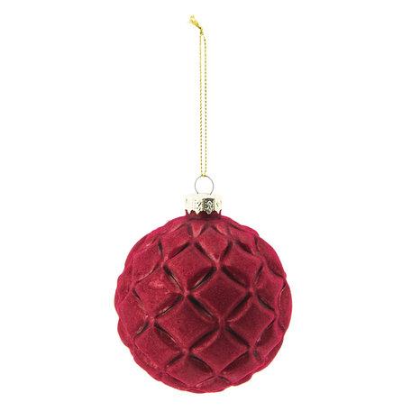 Kerstbal (set 4) ø 8 cm Rood | 6GL2279R | Clayre & Eef