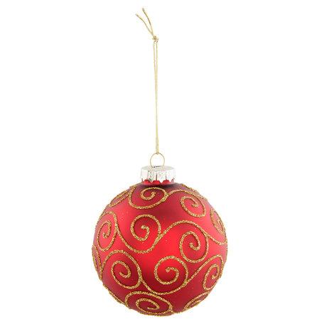 2 STUKS Kerstbal ø 8*9 cm Rood | 6GL2301R | Clayre & Eef
