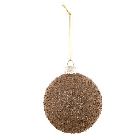 2 STUKS Kerstbal ø 8*9 cm Bruin | 6GL2308B | Clayre & Eef