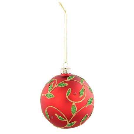 2 STUKS Kerstbal ø 8*9 cm Rood | 6GL2310R | Clayre & Eef