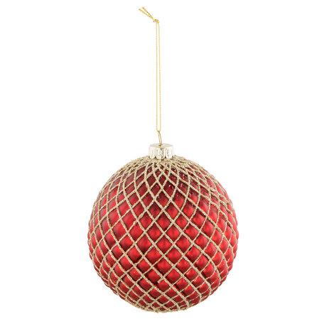 2 STUKS Kerstbal ø 9*11 cm Rood | 6GL2311R | Clayre & Eef