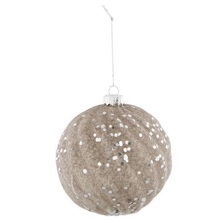 Kerstbal ø 9*11 cm Zilverkleurig | 6GL2312ZI | Clayre & Eef