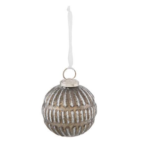 Kerstbal ø 7*8 cm Zilverkleurig | 6GL2313 | Clayre & Eef