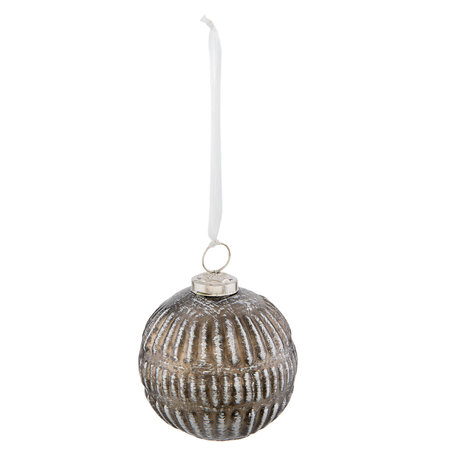 Kerstbal ø 10*12 cm Zilverkleurig | 6GL2314 | Clayre & Eef