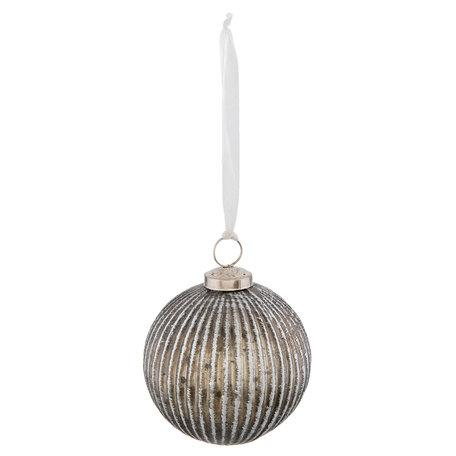 Kerstbal ø 10*12 cm Zilverkleurig | 6GL2315 | Clayre & Eef