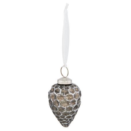 Kerstbal ø 5*8 cm Zilverkleurig | 6GL2319 | Clayre & Eef