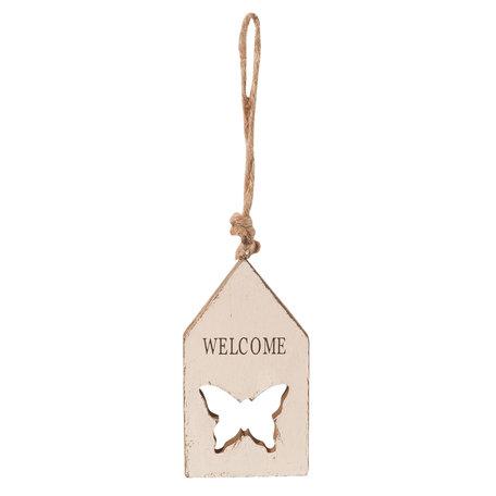 2 STUKS Decoratie hanger huis 6*1*11 cm Creme | 6H1295 | Clayre & Eef