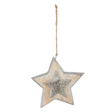 2 STUKS Hanger ster 12*3*12 cm Zilverkleurig | 6H1462 | Clayre & Eef