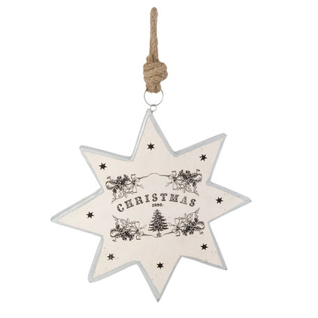 Hanger ster Christmas 24*2*24 cm Wit | 6H1464 | Clayre & Eef