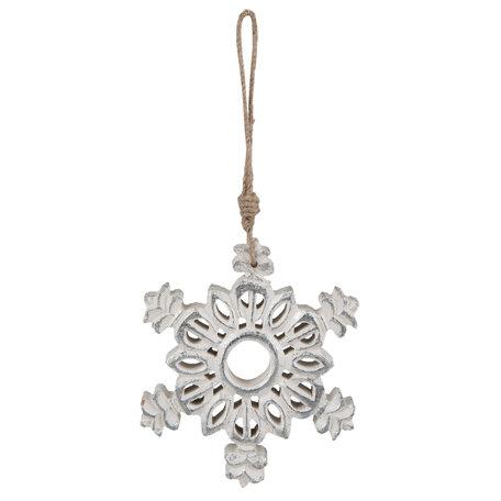 Hanger sneeuwvlok hout 15*2*15 cm Zilverkleurig | 6H1518 | Clayre & Eef