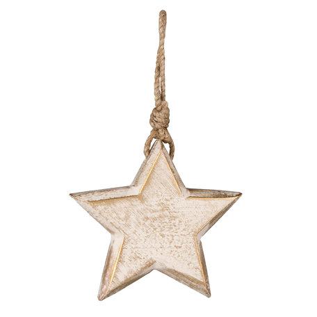 Hanger ster hout ( set van 3 ) 10*2*10 cm ( set 3 ) Wit | 6H1527 | Clayre & Eef