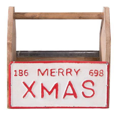 Decoratie kistje Merry Xmas 30*13*30 cm Meerkleurig   6H1637   Clayre & Eef