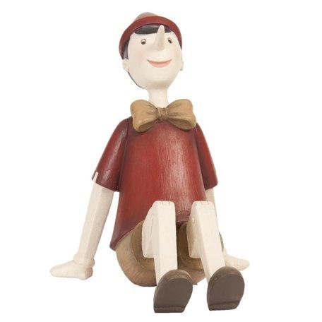 Decoratie figuur Pinokkio 15*11*14 cm Rood | 6PR0658 | Clayre & Eef