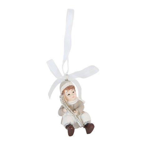 2 STUKS Hanger jongen 3*5*5 cm Grijs | 6PR0847 | Clayre & Eef