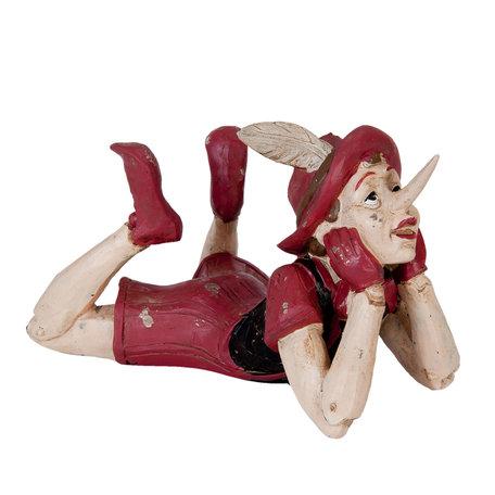 Decoratie figuur Pinokkio 18*12*11 cm Rood | 6PR0912 | Clayre & Eef
