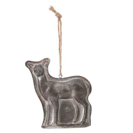 Decoratie hanger hert 9*3*9 cm Zilverkleurig | 6PR1156 | Clayre & Eef