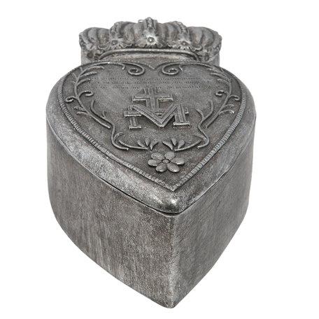 Doosje hart 16*8*5 cm Zilverkleurig | 6PR1166 | Clayre & Eef
