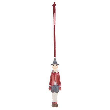 2 STUKS Hanger Decoratie figuur Pinokkio 3*2*11 cm Rood | 6PR2245 | Clayre & Eef