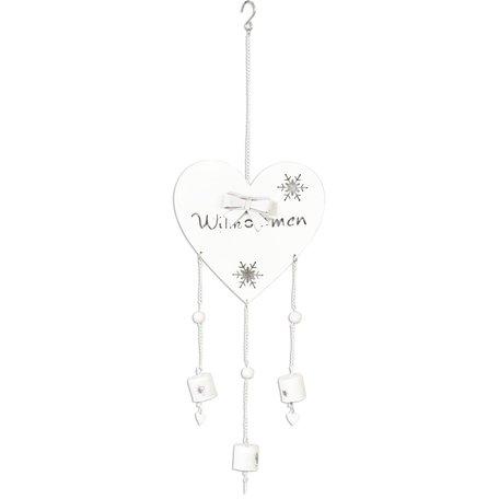 Decoratie hanger hart 14*46 cm Wit | 6Y1413W | Clayre & Eef