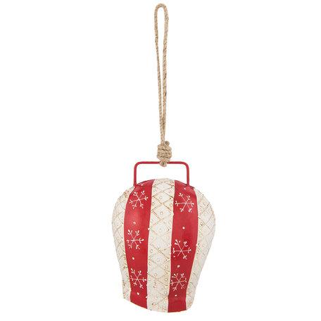 Decoratie hanger bel 16*12*8 cm Rood   6Y2768L   Clayre & Eef
