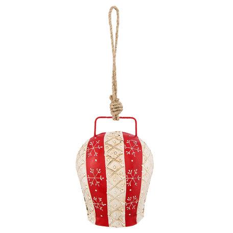 Decoratie hanger bel 9*7*13 cm Rood | 6Y2768M | Clayre & Eef